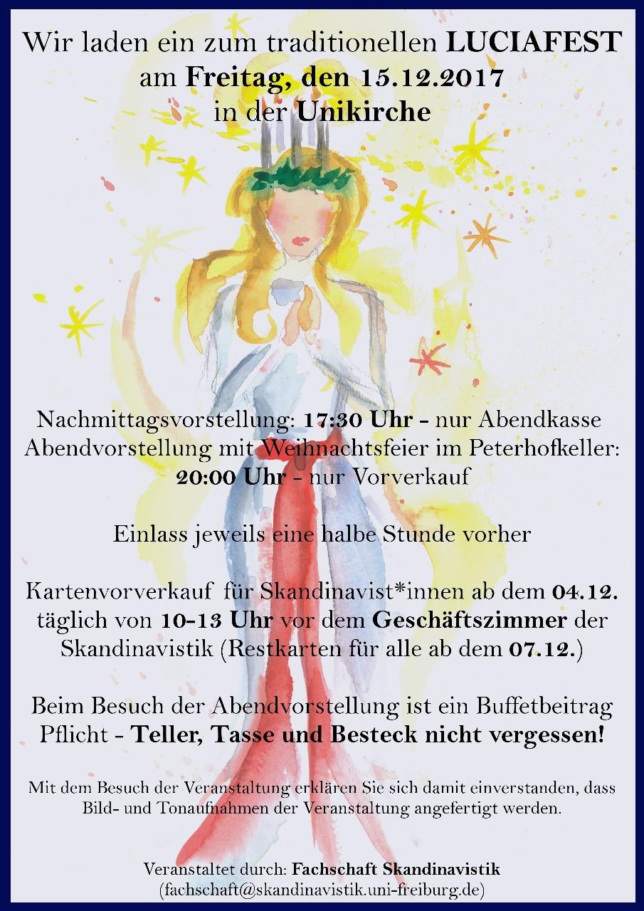 Luciafest am Freitag, den 15. Dezember 2017 in der Unikirche